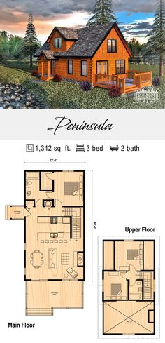 The largest of the Cabin Series homes, Peninsula is the perfect option for narrow lots with its long, slender design. Open concept with a classic feel, Peninsula is the ideal home for any family.  #loghome #logcabin #floorplan #loghomes #logcabins #floorplans