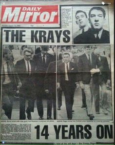 KRAY inspiration for gangster look. Irish Mob, The Krays, Paul Kelly, Mafia Gangster, Reading Projects, Newspaper Headlines, Mobsters, Bad Life, Vintage