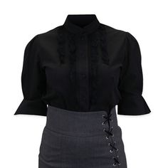 1800s Ladies Black Cotton Solid Stand Collar Blouse | 19th Century | Historical | Period Clothing | Theatrical || Louisa Blouse - Black