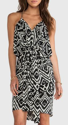 T-Bags LosAngeles Knot Front Knee Length Dress in Black White Ikat