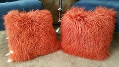"PAIR OF GENUINE MONGOLIAN LAMB FUR DECORATIVE ORANGE PILLOW SET 16""x 16"" Fur Pillow, Pillow Set, Orange Pillows, Lamb, Pairs, Decor, Decoration, Orange Throw Pillows, Decorating"