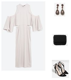Pearl grey cold shoulder midi dress+black ankle strap heeled sandals+black clutch+earrings. Late Summer Evening Wedding Guest Outfit 2016