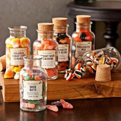 I like the idea of old pill bottles filled with candy