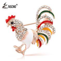 Multicolor Enamel Esmalte Rooster Brooches Vintage Rhinestone Cock Animal Brooches Lapel Pins For Women Accessories (AI860028)