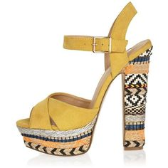 River Island Yellow print suede platform heels (£84) ❤ liked on Polyvore featuring shoes, pumps, heels, sandals, shoes / boots, women, yellow, suede pumps, suede shoes and platform shoes