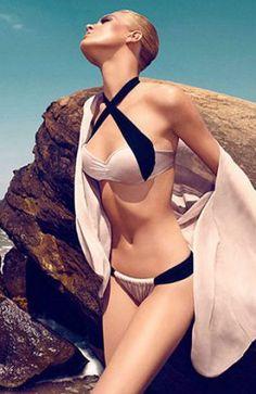Light Pink Contrast Navy Criss Cross Halter Bikini