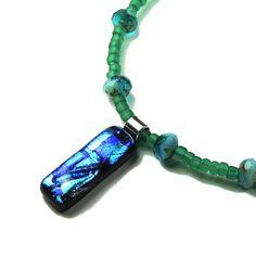 Blue and Teal Pendant Rectangular Dichroic Pendant by LehaneArts #group2020 #tealpendant #dichroicglass