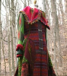 Patchwork wool cashmere SWEATER /COAT with felted by amberstudios