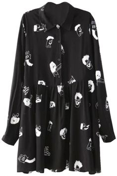 Shop Black Long Sleeve Cartoon Print Blouse at ROMWE, discover more fashion styles online. Lace Dress With Sleeves, Sleeve Dresses, Long Blouse, Dress Long, Blouse Online, Printed Blouse, Pretty Outfits, Pretty Clothes, Blouses For Women
