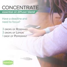 Whenever I've got a deadline, or have work I desperately need to get done, I always turn to essential oils for help! Next time you really need to concentrate, try diffusing a blend of Rosemary, Lemon, and Peppermint. Lemon will uplift your mood, Rosemary will help reduce fatigue, and most importantly, Peppermint oil contains a high percentage of menthol which gives it therapeutic value to help relieve tension and invigorate the mind. www.hayleyhobson.com
