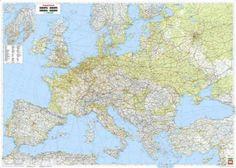Európa domborzata és úthálózata falitérkép 128*91 cm - íves papír