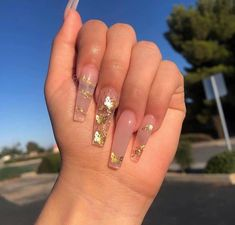Acrylic Nails Coffin Glitter, Coffin Nails Long, Best Acrylic Nails, Rose Gold Nails, Diamond Nails, Nails With Gold, Nails With Diamonds, Pink Nail, Prom Nails