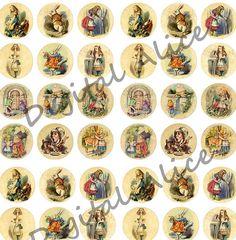 ALICE in WONDERLAND  Craft Circles   Instant Download Digital