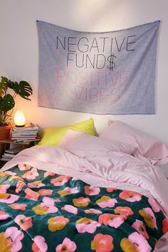 Amber Ibarreche X UO Negative Funds Positive Vibes Embroidered Tapestry Lunch Boxe, Ikea, Sweet Home, Home Decor Sale, Hanging Art, Boho, Dorm Room, Positive Vibes, Color Inspiration