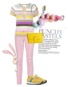 """punchy pastels"" by oriza-int ❤ liked on Polyvore featuring Current/Elliott, Allude, Saucony, Loewe, Linda Farrow, Bunny and pastel"