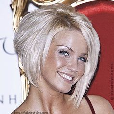 stacked bob with bangs over 40 | Sarah Harding (23) with a beveled bob haircut in 2006 was one of the ...