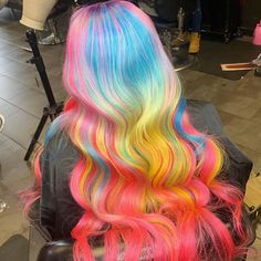 Ombre Colorful Brazilian Wave Glueless Lace Wigs With Baby Hair - Best Hairstyles Ideas Pretty Hairstyles, Wig Hairstyles, Protective Hairstyles, Wig Styles, Curly Hair Styles, Hair Colorful, Colorful Lace Front Wigs, Multicolored Hair, Creative Hair Color
