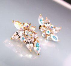 White AB crystal rhinestone flower post earrings  by DesignByKara, $24.00