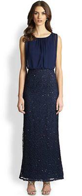 Aidan Mattox - Chiffon & Metallic Lace Gown: black tie doesn't always have to mean black dress.