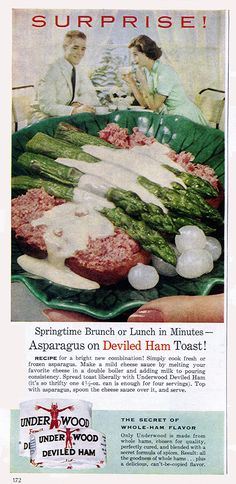 MeTV Network 14 horrifying, baffling foods from vintage ads Vintage Ads Food, Vintage Cooking, Vintage Advertisements, Retro Food, Retro Recipes, Old Recipes, Vintage Recipes, Cooking Recipes, Meat Art