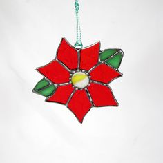 Poinsettia Stained Glass Ornament by Gerri Insinga | Crescent Moon
