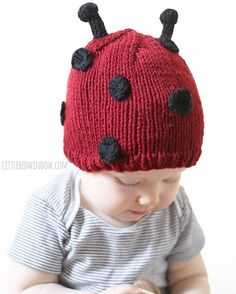 Baby V had a ladybug themed first birthday a while back and she wore this little hat made from my new Little Ladybug Hat Knitting Pattern. It was extreme cuteness all around!
