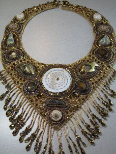 Bead Embroidery Bib Necklace Treasure of the by jewelrytaylormade, $825.00