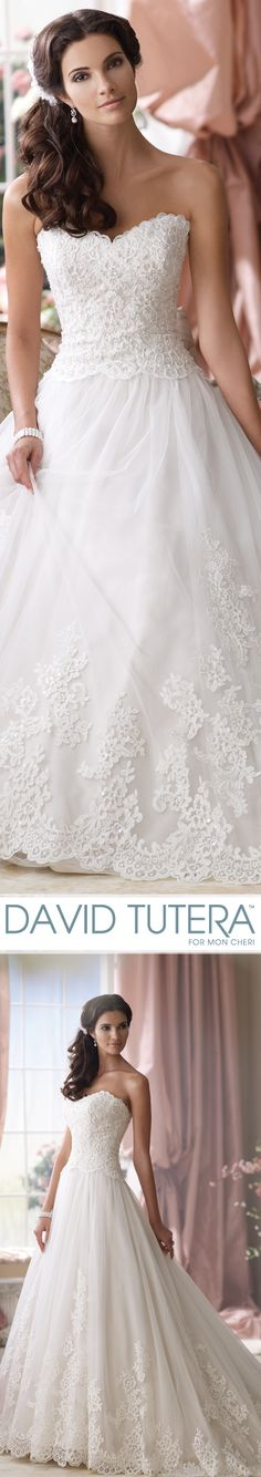 Style No. 114275 ~ Patmore Wedding Dresses 2014 Collection – Strapless embroidered lace and tulle ball gown wedding dress with scalloped sweetheart neckline, embroidered lace bodice with delicate hand-beaded detail and scalloped natural waistline, softly curved back bodice, full gathered tulle skirt with matching embroidered lace appliqués cascading down to scalloped hemline and chapel length train. The Berger Collection for Mon Cheri headpiece style 9501 sold separately.