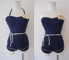 1950s Pin Up Swimsuit / 50s Dark Navy Blue Pin Up Bathing suit / XS 0 2