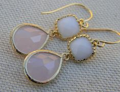 White Opal Earrings Pink Earrings  Bridesmaid by Greenperidot, $24.50