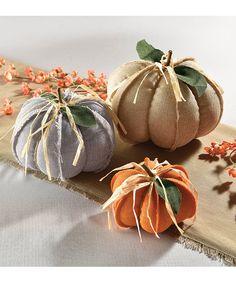 Fabric Pumpkins Set of Three
