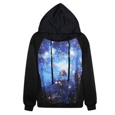 olso knitting Harajuku high quality blue galaxy 3D Print sweatshirt Pullover new 2015 Women casual blouse Sexy blouse Hoodies