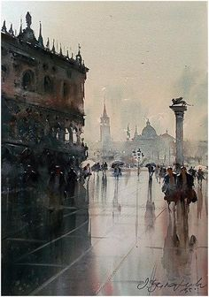 Rainy Day In Piazza San Marco Venice Painting