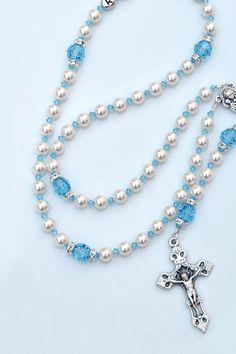 Aquamarine Blue Swarovski Crystal Rosary, March Birthstone - Custom Name Option - Communion Baptism Confirmation Gift - Catholic Heirloom by RosariesOfLove on Etsy