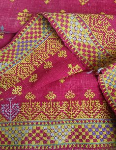 RARE NAGAUR SHAWL WITH IDENTICAL EMBROIDERY ON BOTH SIDES  ATI-621 ANTIQUE…