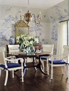 Blue & white painted wall design Chinoiserie... I would change from the blue décor to something else.