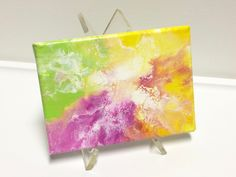 NEW Small Original abstract acrylic painting, 5 x7 inches, green.pink.yellow.orange. handmade wall decor, home decor, gift by CMagyarArt on Etsy