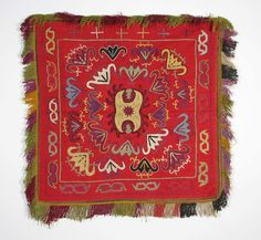 uzbek nomads Lakai - tent decoration, handmade silk embroidery, 19th c, natural dyes.