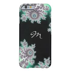 Elegant Deep Forest Green Fractal Monogram iPhone 6 Case.  A Mandelbrot fractal in dark and light shades of green with pink and purple and white.   #iPhone  #iPhone6  #fractal