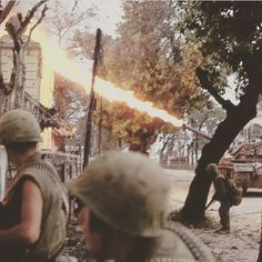 Flamethrower variant of the M48 Patton in action buring the battle of Hue.