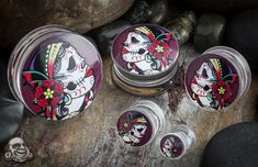 Double flare Day of the Dead gypsy plugs, love these