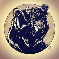 An  image of a bear's powerful roar, captured in all his strength. Ideal for cover up's, and is best for covering bigger surfaces. Color: Black. Tags: Cool, Creative, Badass, Beautiful, Cover Up, Meaningful