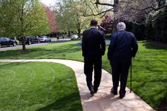 4/21/2009''President Obama escorts Sen. Edward Kennedy to the motorcade from the Oval Office en route to a national service event at the Seed School,where the President also signed the Kennedy Service Act.''