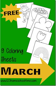 FREE Printable March Coloring sheets for toddler, preschool, and kindergarten age children. Themes include St. Patrick's day, Spring, Flowers, Rainbows.