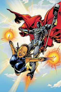 Steel and Natasha Irons Female Superheroes And Villains, Superman Characters, Dc Comics Superheroes, Dc Comics Art, Marvel Dc Comics, Dc Heroes, Comic Book Heroes, Comic Books Art, Comic Art