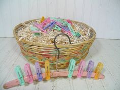 A Perfect Beginning to a Baby Shower Gift Basket - Vintage Oversized Pastel Woven Wicker Basket with 37 Clothes Pins & Antique Wooden Hanger $33.00  by DivineOrders