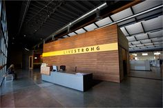 Livestrong's office in Austin, Texas    Why: Glass and wood speaks to being open and natural, calming but still modern, open space.