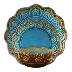 16pc Dinnerware Set Round Moroccan Turquoise Gold Plate Dessert Salad/Soup Bowl