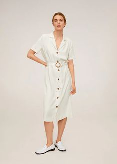 Cotton and linen mix Midi fit Full skirt Flared hem Button fastening on the front section Square neckline with button detail Straps Adjustable belt Mango France, Jacquard Fabric, Mango Fashion, Button Dress, Manga, My Wardrobe, Cotton Dresses, Dress To Impress, Latest Trends