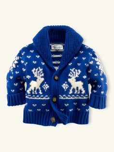 Baby's first Christmas reindeer cardigan